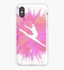 Pink Explosion Gymnastics Silhouette iPhone Case/Skin