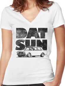 Datsun 510 Fatty Women's Fitted V-Neck T-Shirt