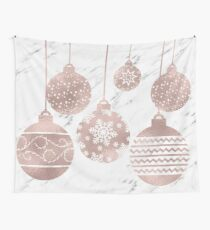 Rose gold marble Christmas baubles Wall Tapestry