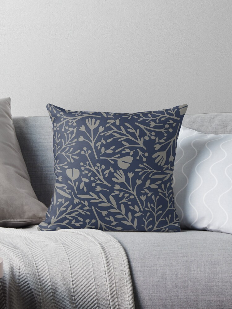 Sketchbook flowers navy and warm gray by JoniandCo