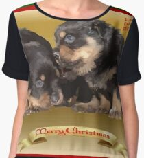 Vector Rottweiler Puppy Christmas Wishes  Chiffon Top
