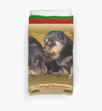 Vector Rottweiler Puppy Christmas Wishes  Duvet Cover