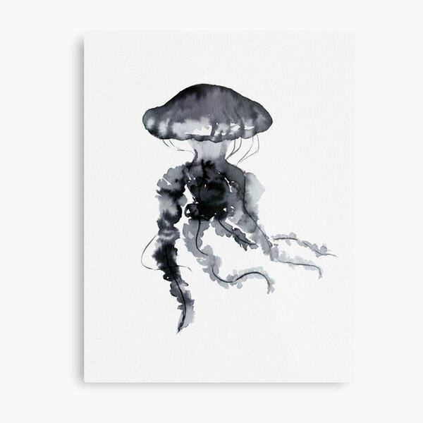 Jellyfish - Ink Metal Print