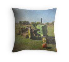 John Deere Tractor Harvest Time Photograph Textured Throw Pillow