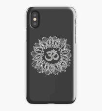 Om mandala in white iPhone Case/Skin