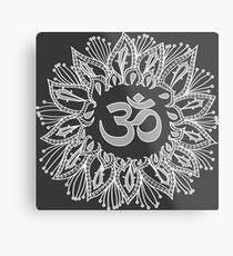 Om mandala in white Metal Print