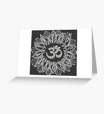 Om mandala in white Greeting Card