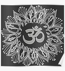 Om mandala in white Poster