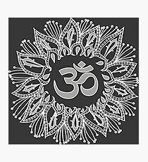 Om mandala in white Photographic Print