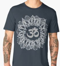 Om mandala in white Men's Premium T-Shirt