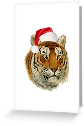 Funny Tiger Wearing Santa hat Christmas T-shirt by SafariTees