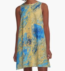 Gold and Blue Abstract  A-Line Dress