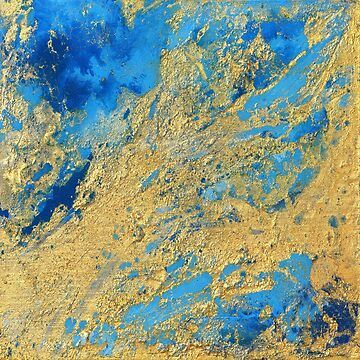 Gold and Blue Abstract  by JuliaFineArt