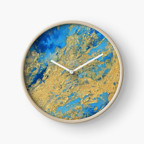 Gold and Blue Abstract  Clock