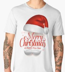 Merry Christmas Title Typography Vector Concept in Red with Hat Men's Premium T-Shirt