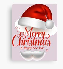 Merry Christmas Title Typography Vector Concept in Red with Hat Canvas Print