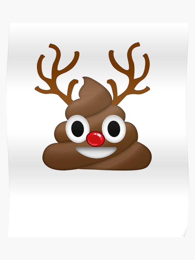 Funny Christmas.Poop Emoji Funny Christmas Reindeer Poster