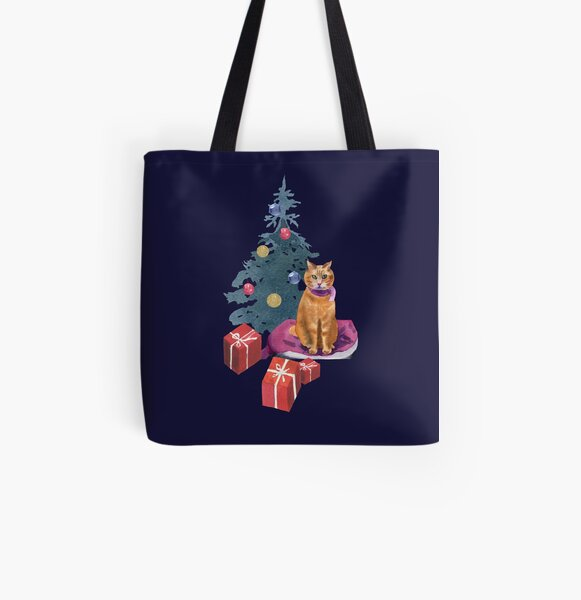 Christmas with a cat All Over Print Tote Bag