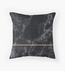 BLACK MARBLE GOLD STRIPE MINIMALIST Throw Pillow