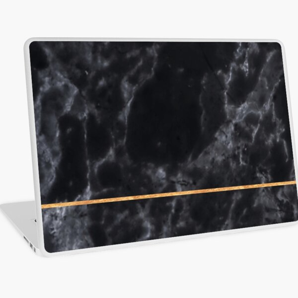 BLACK MARBLE GOLD STRIPE MINIMALIST Laptop Skin