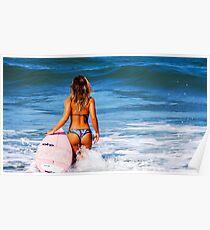 Hot Bikini Surfer Babe Poster