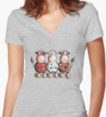 Three colourful cows - Cow - Cartoon - Gift Women's Fitted V-Neck T-Shirt