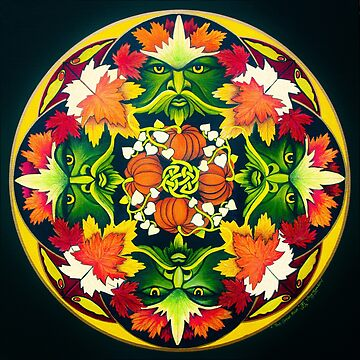 The Green Man Mandala by Marg Thomson fullcirclemandalas by fullcirclemandalas