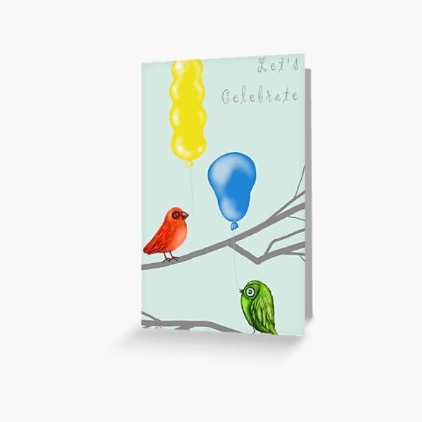 Let's Celebrate Birds with Balloons Greeting Card