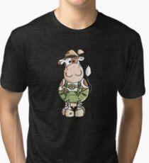 Bavarian Cow Cartoon - Cows - Octoberfest - Gift Tri-blend T-Shirt