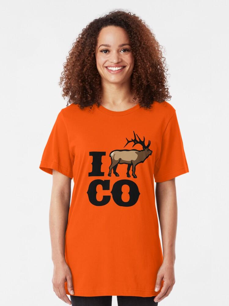 Alternate view of Elk Deer Hunting Colorado Slim Fit T-Shirt