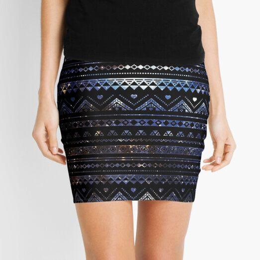 Aztec Black Galaxy Blue Mini Skirt