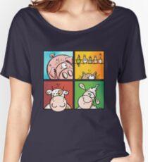 Colourful Farm Animals - Cow - Pig - Sheep - Cat - Cartoon Women's Relaxed Fit T-Shirt