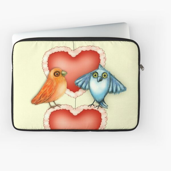 Love Birds with Hearts Laptop Sleeve