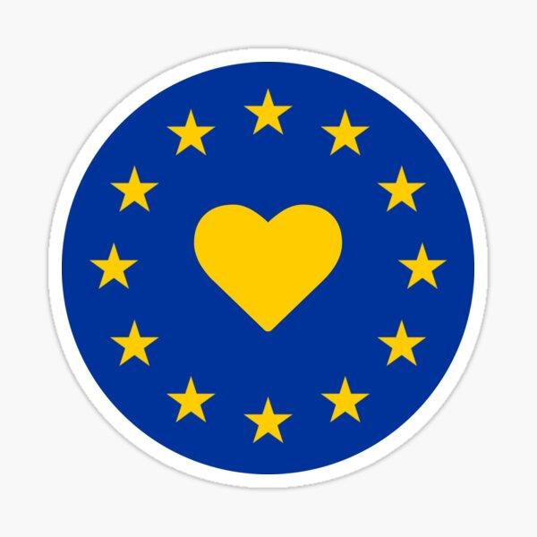 Europe Heart Round Sticker