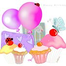Happy Birthday Balloons, Presents and Cupcakes by Cherie Roe Dirksen
