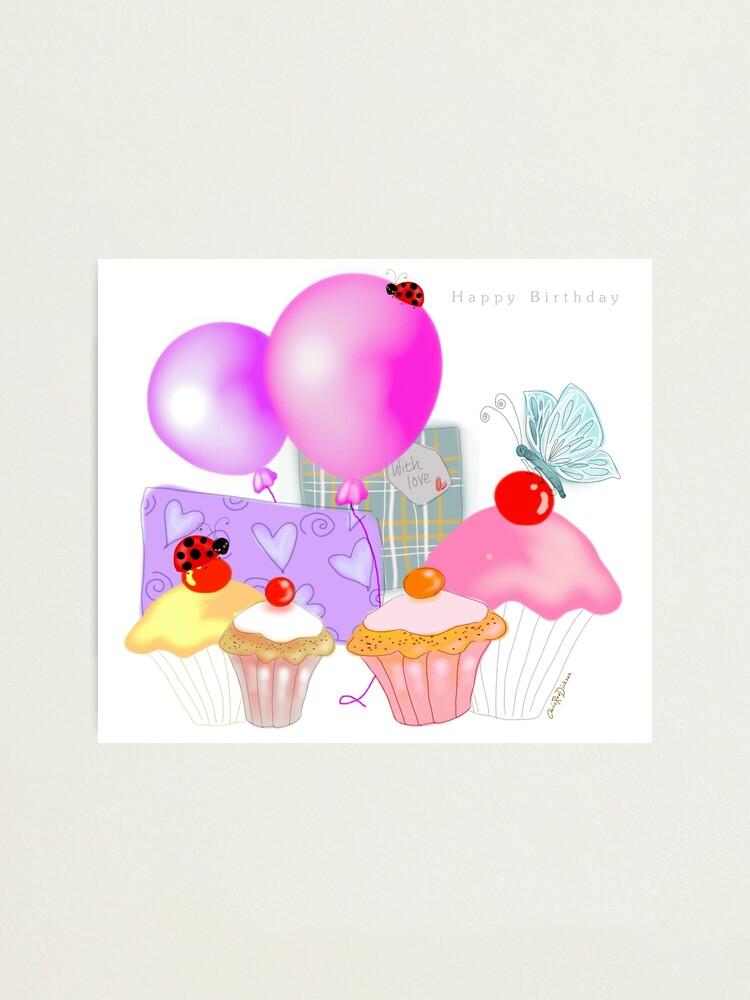 Sensational Happy Birthday Balloons Presents And Cupcakes Photographic Print Birthday Cards Printable Benkemecafe Filternl