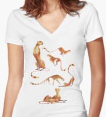 Cheetah poses Women's Fitted V-Neck T-Shirt