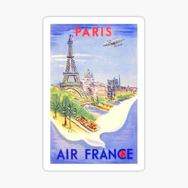 Vintage Paris Travel Poster Pegatina
