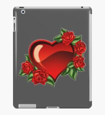 Red heart. Red roses. Heart in flowers. Love emblem. Knitted product. iPad Case/Skin