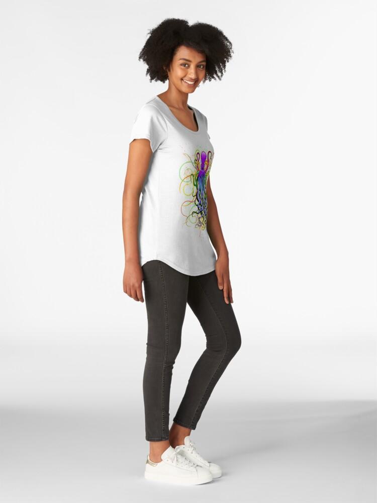 Vista alternativa de Camiseta premium de cuello ancho Pulpo de luminiscencia psicodélica