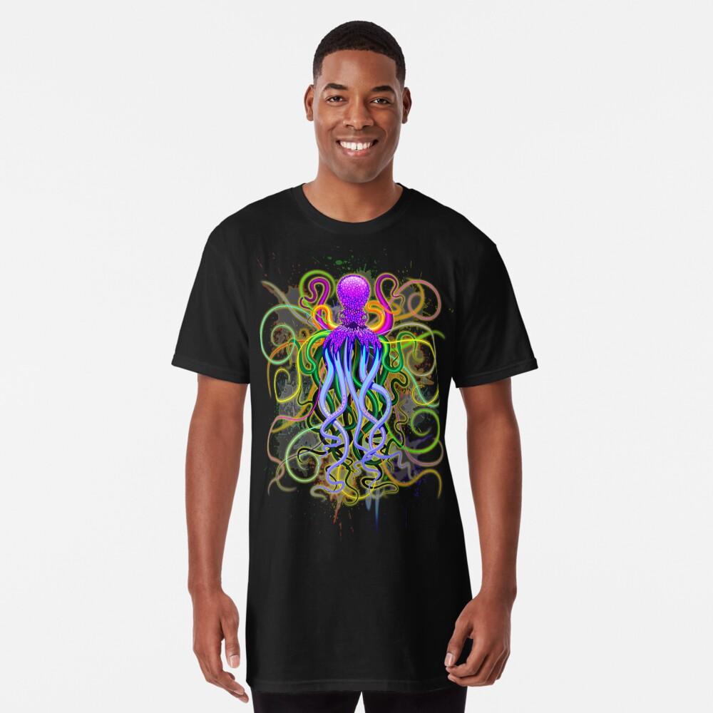 Pulpo de luminiscencia psicodélica Camiseta larga