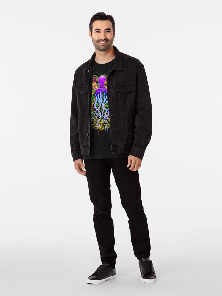 Vista alternativa de Camiseta premium Pulpo de luminiscencia psicodélica