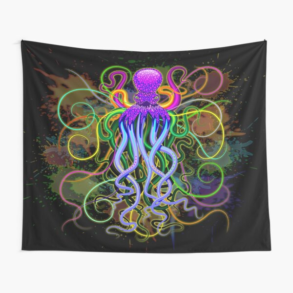 Octopus Psychedelic Luminescence Tapestry