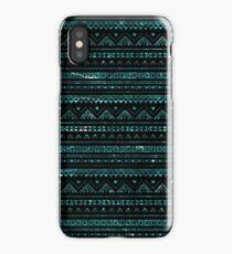 Aztec Black Tinsel Blue iPhone Case/Skin
