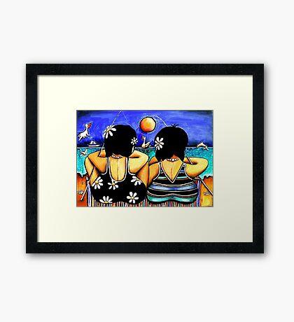 Sisters Fishing Framed Print