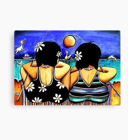 Sisters Fishing Canvas Print