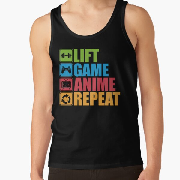 Lift, Game, Anime, Repeat - Icon Pictogram Tank Top