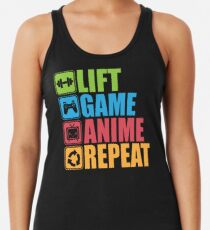 Lift, Game, Anime, Repeat - Icon Pictogram Racerback Tank Top