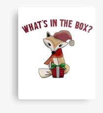 Cute Christmas What's In The Box Fox Gift Metal Print