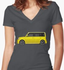 Vectored Boxcar Yellow Women's Fitted V-Neck T-Shirt